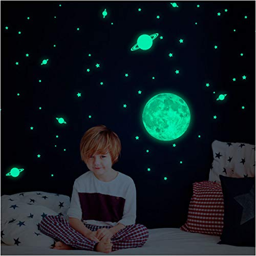 Wandtattoo Mond Leuchtfarben 30cm mit 240pétites Sterne und Planeten