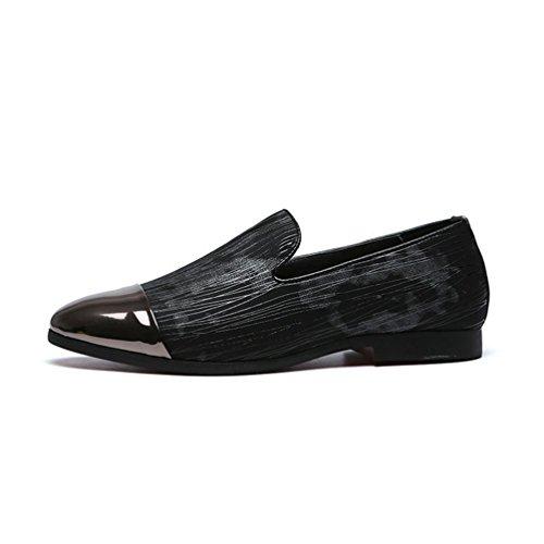 Homme Chaussure en Cuir Souple à Rayure Plate Basse Mocassin Chaussure de Danse Résistant à l'usure Noir Gris 44