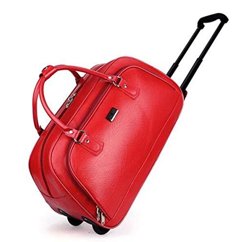 YRYBZ Sac De Voyage en Simili Cuir pour Voyage Week-End Sacs à roulettes - Grand Sac De Sport pour Gymnastique Vintage - Imperméable Pliable Marron 54x24x31cm / Red