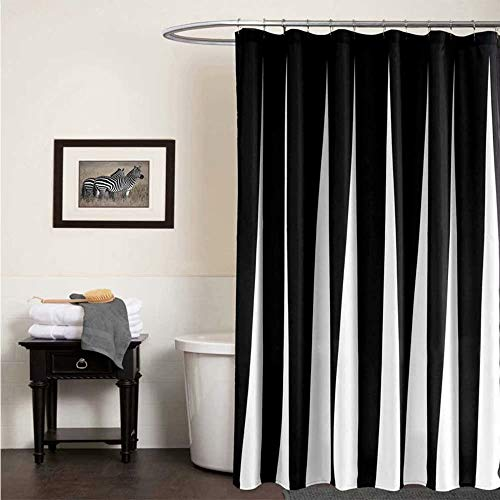 Shower Curtains Black and White Striped,with Hooks for Bathroom Polyester Fabric Curtain ,72x72 inch Waterproof Simple Folds Microfiber Shower Curtains