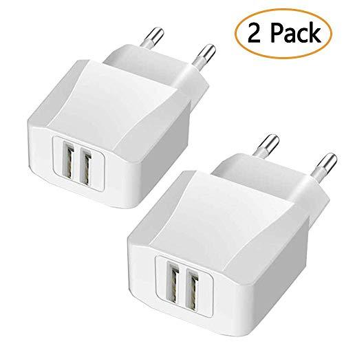 Luvfun USB Netzteil USB Stecker, USB Ladegerät [2-Pack] 2-Port (5V/2.1A) mit iSmart Technologie für Samsung Galaxy, Nexus, HTC, Motorola, LG und viele mehr