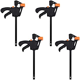 4Pack Clamps for Woodwork, F Clamps, 4inch Clip Quick Grip Ratchet Release Squeeze Woodworking DIY Hand Tool Kit for Carpe...