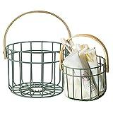 YIDAI 2 cestas de huevo, cestas de alambre de metal, cestas de alambre con asa, cesta de huevo de alambre de pollo, cesta de fruta redonda con asa de transporte de madera para picnic (C)