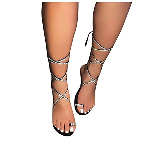 Xudanell Sandals for Women Open Toe Sparkly Rhinestone Diamond Lace Up Flat Thong Flip Flops Gladiator Womens Sandals Black
