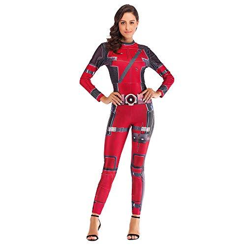 Hope Avengers Deadpool Kostüm Cosplay Kostüm Rollenspiele Outfit Frauen Damen Sexy Digital Print Overall,Red-L