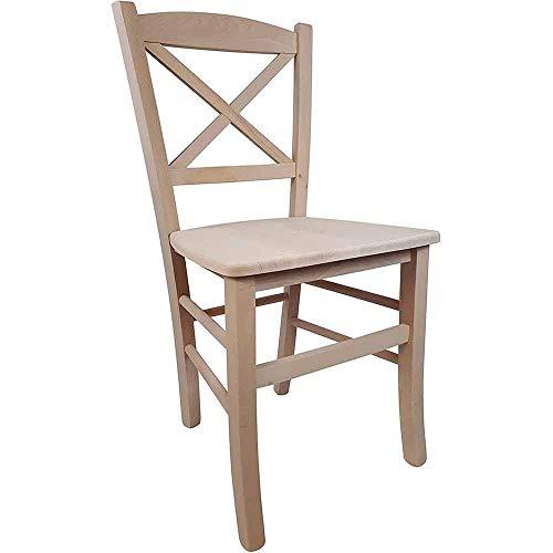 Sedia in legno massello GREZZO DA VERNICIARE seduta in legno massello ristorante casa PAESANA CROCE nuova già montata