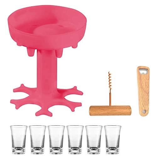 Shunfaji Dispensador De Vino por Copas, Máquinas Dispensadoras De Cerveza Dispensador De Alcohol, Aireador Vino Tinto Dispensador Vino Vertedores Pourer (Rosa)