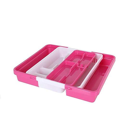 Amara-global PW8032 - Bandeja para cubiertos (extraíble, plástico, ajustable), color rosa