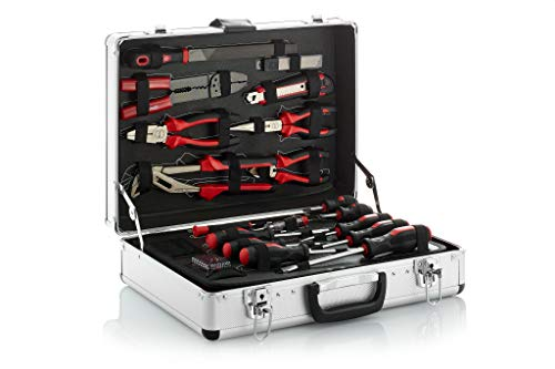 BFG Caja de herramientas, llena de 149 piezas (CrVn-steel), L 45, 5 x D 14 x H 35, 5 cm, peso 10 kg | Caja de herramientas profesional de aluminio, con cerradura y robusta