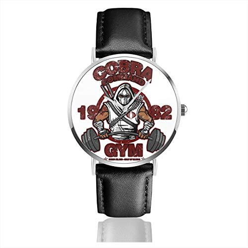 Unisex Business Casual Cobra Command Gym GI Joe Storm Shadow Uhren Quarz Leder Armbanduhr mit schwarzem Lederband für Männer und Frauen Young Collection Geschenk