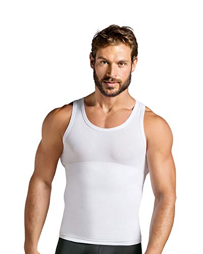 LEO Moderate Compression Shirt for Men - Slimming Tank top Undershirt White