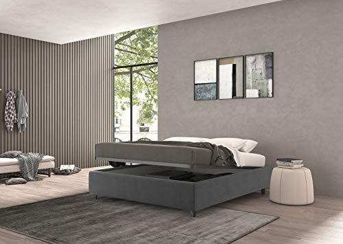 Talamo Italia Letto Contenitore Piazza e Mezza Vivaldi grigio Velluto Made In Italy 131 x 39 x 208, PIAZZAEMEZZO