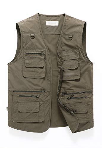 Outdoor Vest For Men Work Fishing Travel Safari Ranger Vest Multi Pockets Vest Jacket For Hunting Hiking 01-GY-L
