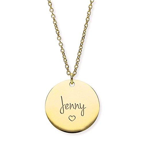 URBANHELDEN - Damen-Kette mit Wunschgravur Anhänger - Personalisierte Namenskette Amulett aus Edelstahl mit eingraviertem Herz - Big Gold G1