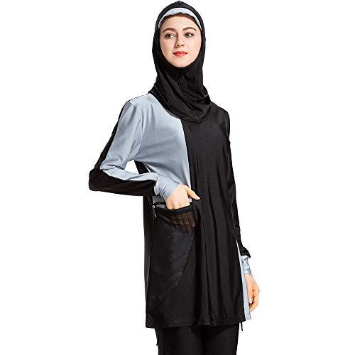 CaptainSwim Neue Muslimische Badebekleidung für Frauen Mädchen Vollständige Abdeckung Burkini Badeanzug Set Islamischer Hijab Bescheiden Strandkleidung Schwimmen Passen Kostüm (2XL, Schwarz)