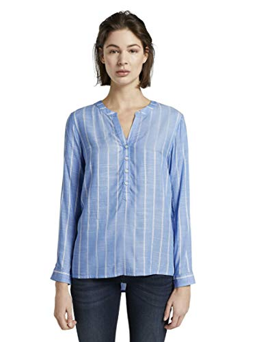 TOM TAILOR Damen Blusen, Shirts & Hemden Strukturierte Bluse Blue Stripe Vertical,40,22803,6000
