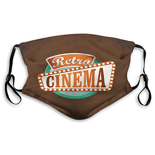 Fillter Face Cloth For teensRetro Style Cinema Sign Design Film Festival Hollywood Theme Cold Mouth Dustproof Double Protection