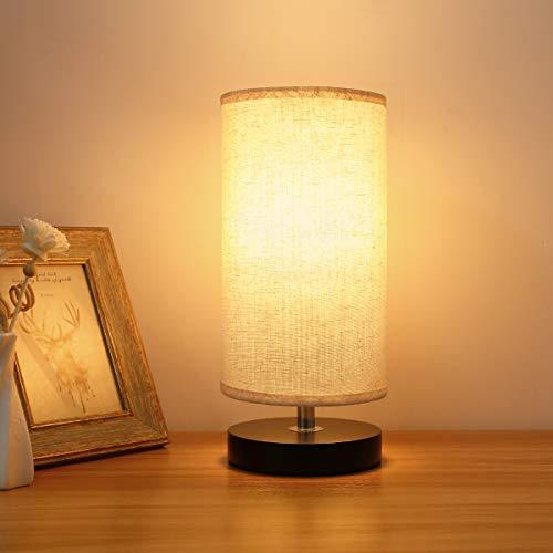 Lampada da Comodino, Kakanuo Lampada da Tavolo Rotonda, Paralume in Tessuto, Base in Legno Nero, per Camera da Letto, Nursery, Living Room