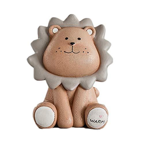 SISIZHANG Sparschwein aus Kunstharz, süßes kleines Löwen-Modell Spardose für kleine Tierdekoration, Schlafzimmer, Wohnzimmer, Dekoration, Kunstharz, braun, 21 * 16 * 15CM