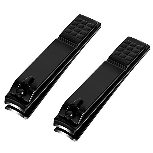 Nail Clipper Set Sharp Stainless Steel Nails and Toenail Knife Black Large and Large 2 Piece Set Large/Large