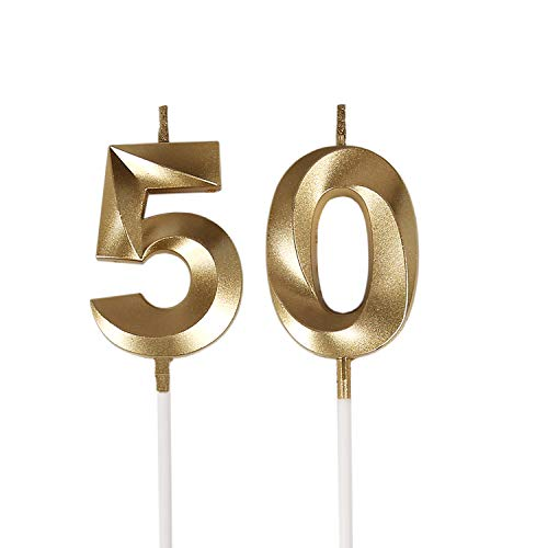 Bailym 50th Birthday Candles,Gold Number 50 Cake Topper for Birthday Decorations Party Decoration