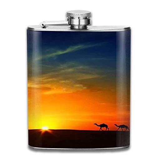 Flesje Silhouet van Kamelen bij zonsondergang RVS Kleine Hip Flask Mens Lekvrij Vlagon Outdoor Draagbare Flask voor Alcohol Whiskey Rum en Vodka