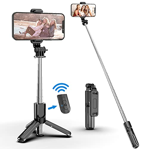 Portable Selfie Stick Tripod with Bluetooth Wireless Remote, 3 in 1 Extendable Selfie Stick Phone Holder for iPhone 13/12/12 Pro/12 Pro...