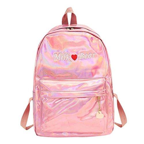 Borse Da Viaggio Mini Argento Blu Rosa Zaino Donne Ragazze Borsa Pu Zaino In Pelle Olografica Scuola Borse Per Le Ragazze Adolescenti Pink 1