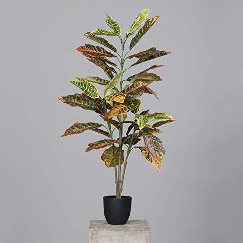 mucplants Künstliche Croton Pflanze Grün, Gelb, Braun Höhe 100cm im schwarzen Kunststofftopf Kunstpflanzen Kunstblumen Dekopflanze