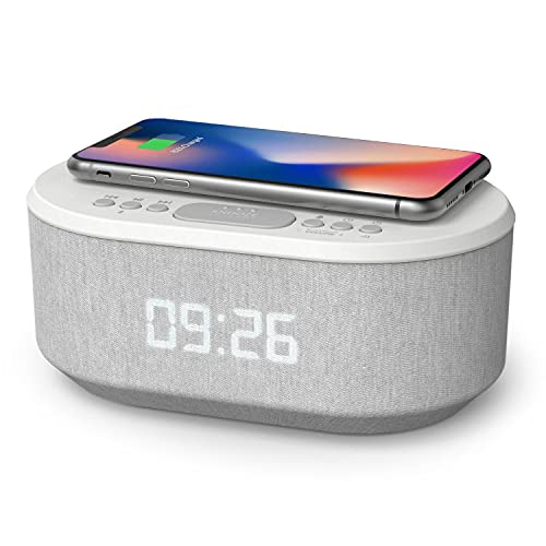 Bedside Radio Alarm Clock with USB Charger, Bluetooth Speaker, QI Wireless Charging, Dual Alarm...