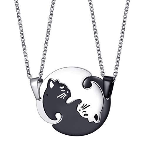 FENICAL Colgante collar lindo gato adorable cadena de acero inoxidable rompecabezas rompecabezas para…