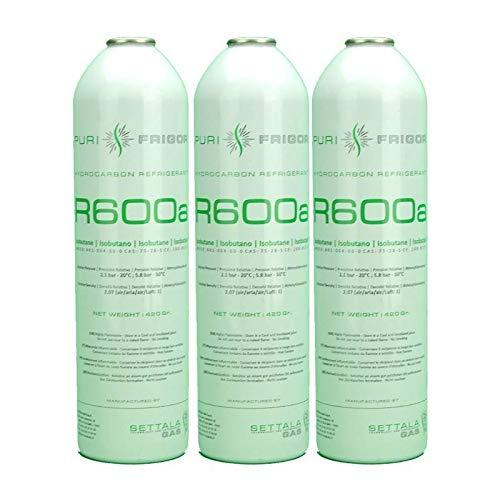 REPORSHOP - 3 Botellas Gas Refrigerante R600 420Gr Isobutano