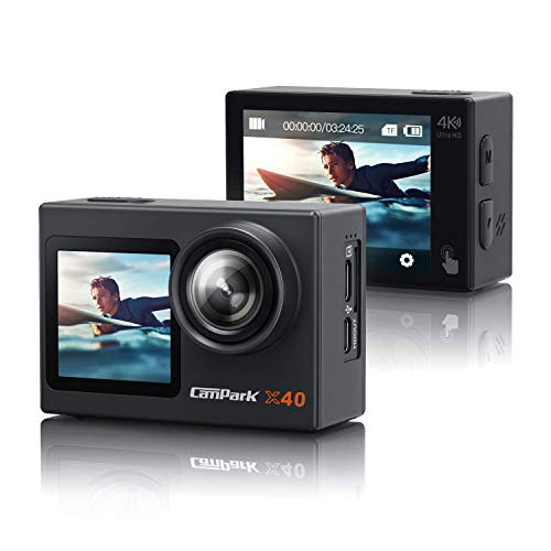 [2021 NEUESTE]Campark X40 Dual Bildschirm 4K 20MP WiFi Action Cam 40M Wasserdicht Unterwasserkamera (Touchscreen 2.4G Fernbedienung Externes Mikrofon Anti-Shake Helmkamera 2x1350mAh Akkus)