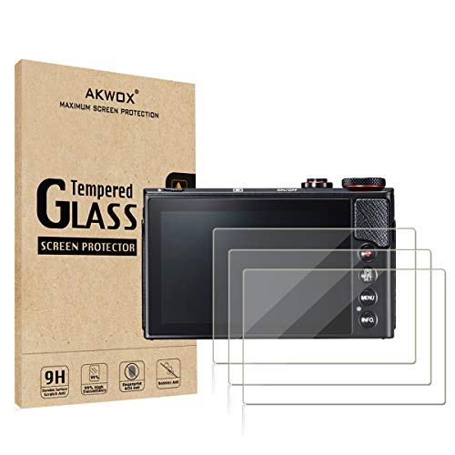 (Pack of 3) Compatible Canon Eos M50 M6D M100 LCD Screen Protector, AKWOX 9H Hardness 0.33mm Camera Tempered Glass Film...