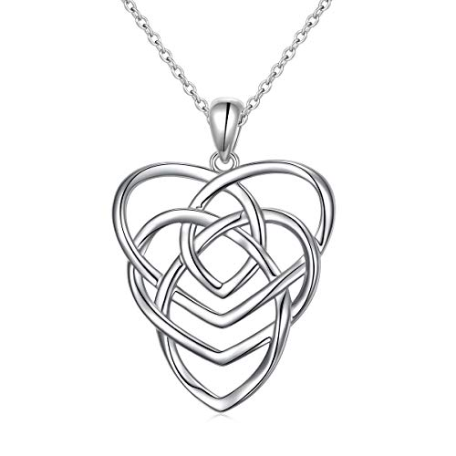 925 Sterling Silver Good Luck Irish Motherhood Celtic Knot Love Heart Pendant Necklace for Women Ladies Birthday Gift, 18' Rolo Chain (Celtic Motherhood Knot Necklace)