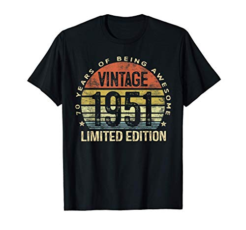 70 Year Old Gifts Vintage 1951 Limited Edition 70th Birthday T-Shirt