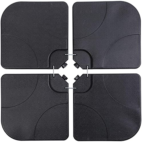 Taylor & Brown 4 Pack 60/80kg Square Shaped Water or Sand Filled Black Umbrella Hanging Banana Cantilever Garden Patio Decking Parasol Base Weight with U Locking