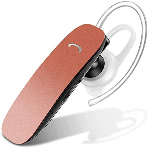 Bluetooth Earpiece for Cell Phone - Voice Command Bluetooth Headset Wireless Earbuds for iPhone Samsung Android - Hands Free Bluetooth Headset with Noise Cancellation Mic - Rose Gold