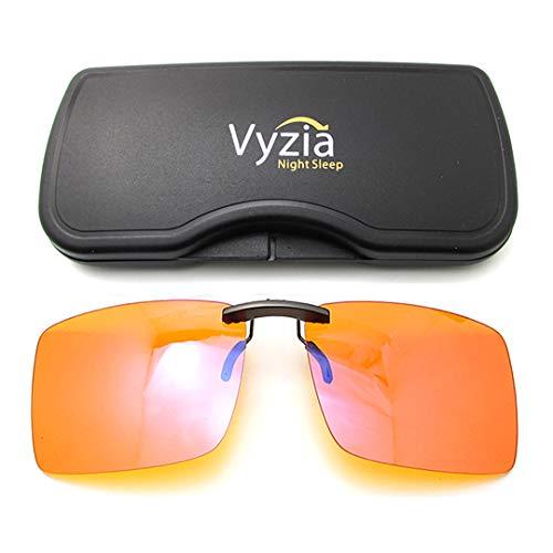 Vyzia Clip On Blue Light Blocking Glasses for Sleep   Fits Over Prescription Glasses, Orange Lenses Help Reduce Computer Eye Strain and Induce Sleep