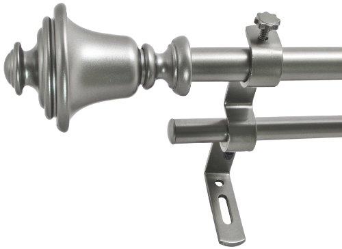 "Decopolitan Bell 5/8"" Double Curtain Rod Set, 26 to 48 Inch, Dark Nickel"
