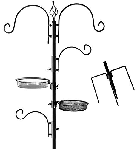 Deluxe Bird Feeding Station for Outdoors: Bird Feeders for Outside - Multi Feeder Pole Stand Kit with 4 Hangers, Bird Bath and 3 Prong Base for Attracting Wild Birds - 22 Inch Wide x 92 Inch Tall