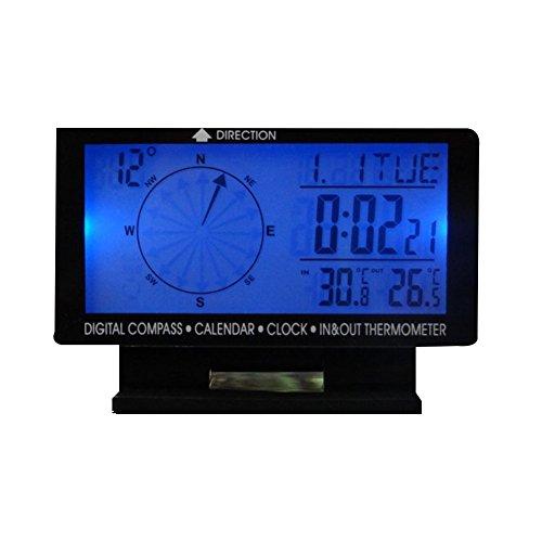 XUNQI Boussole numérique de voiture avec écran LCD 4,6 pouces, calendrier, horloge, thermomètre d'entrée et de sortie avec rétroéclairage bleu 12 V