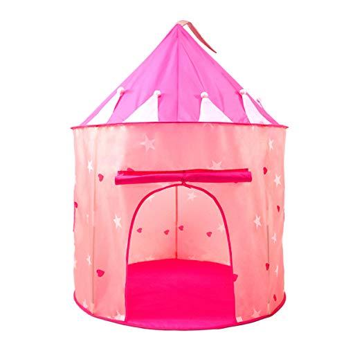 HelloCreate Kinder-Spielzelt, Kinder-Spielzelt mit Sternen, die im Dunkeln leuchten, zusammenklappbar, tragbares Spielhaus mit Tragetasche für drinnen und draußen