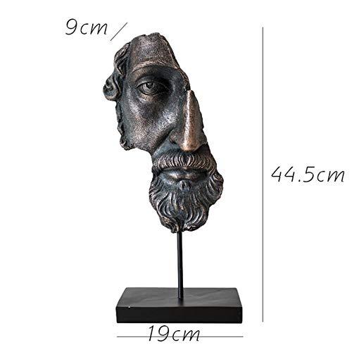 Hars Half Gezicht Standbeeld Abstract Beeldjes Freud Gezicht Prometheus Gezichtsmasker Sculptuur voor Office Vintage Home Decoration, A