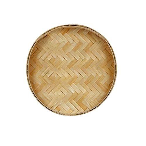 Verakee-Cesta Pan Mimbre, Tejida a Mano de la porción Cesta, Pintado a Mano la Cesta de bambú, Ronda recogedor de Frutas Pan Cocina for Guardar la Cesta, para Almacenamiento de Cocina (Color : D)