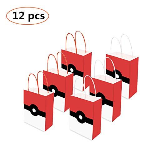 Hooggle Poke-mon Party Supplies Gefälligkeiten, Poke-mon Party Taschen für Kinder Erwachsene Geburtstag Party Game Party Poke-mon Thema Geburtstag Partydekorationen Set von 12