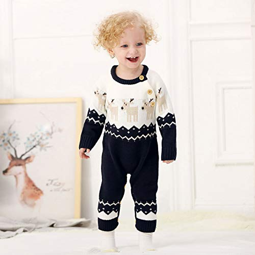 QinCiao Baby Boys Girls One Piece Knitted Reindeer Sweater Romper Christmas Jumpsuit Holiday Festival Clothes Outfits Navy_Blue 0-3 Months
