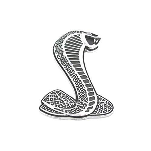 Zeagro 3D Cobra Shelby Schlange Front Auto Metall Grill Kotflügel Truck Emblem Aufkleber Abzeichen mit Halterung für Ford Mustang GT SVT (Silber) 1 Stück