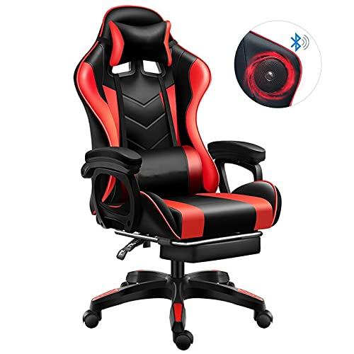 Gaming Stuhl mit Fußstützen Bluetooth Lautsprecher Musik,großer und hoher schreibtischstuhl aus Kohlefaser Leder.E-Sports Spielesitz aus PU Leder Gamer Stuhl(schwarz),Red