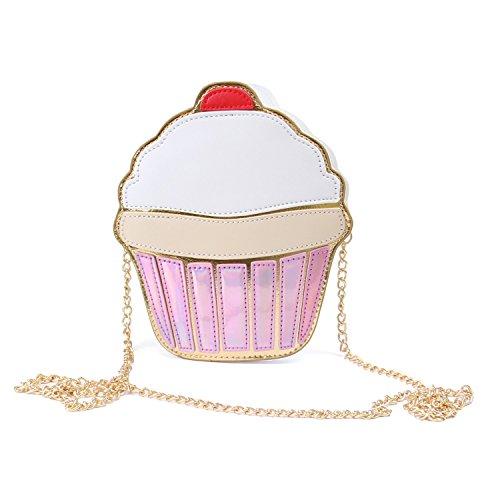 Mädchen Leder Cupcake Kuchen Eiscreme Kleine Kreuz Körper Geldbörse Schultertaschen Süße Handtaschen, Kuchen